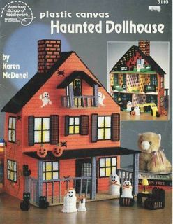 RARE OOP Haunted Dollhouse Plastic Canvas Halloween Pattern by Karen