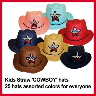 25 Kids Straw Cowboy Hats assorted colors for Birthday party or