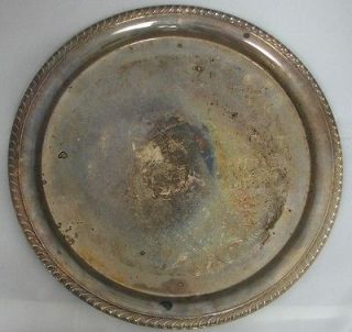 International Silver Co. Round Silver Plated Tray Scroll Floral