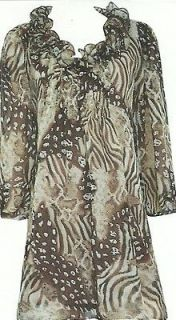 Pretty Angel Clothing Womens Leopard Print Blouse Silk Blend Cream