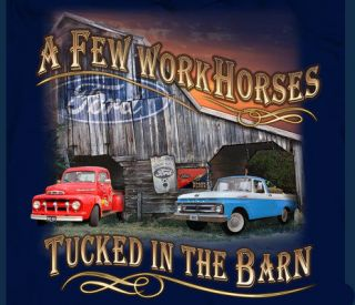 Ford Trucks Few WORK Horses In The Barn NAVY Adult T shirt