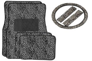 7PC BLACK & WHITE CHEETAH CAR FLOOR MATS,STEERING WHEEL COVER AND