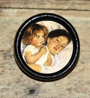 MOTHER and DAUGHTER LOVE Mary Cassatt Altered Art Tie Tack or Ring or