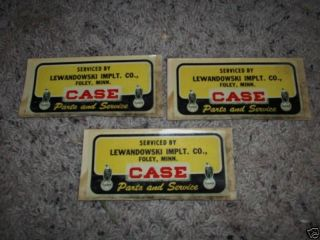1949 CASE TRACTOR DECALS LEWANDO WSKI IMPLT. CO FOLEY ,MN