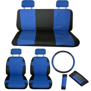 FAUX PU LEATHER Truck CAR SEAT COVERS 11 PC Set Superior Blue Black