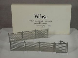 56 Village Collection, Chain Link Fence with Gate, Set of 3