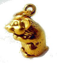 WOW Gold Plated 3D Teddy bear hamster silver charm Pendant