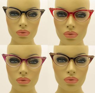 Style Clear Lens Gradient Frame Cat Eye Glasses Crystals Stones