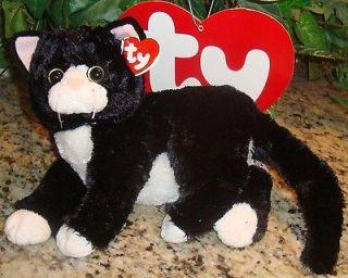 TY SHADOW black & white kitty cat kitten Beanie CLASSIC Baby Buddy
