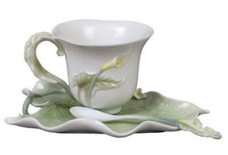 NEW Calla Lily Porcelain Decorative 3 PC Serving Set Cup Saucer Spoon