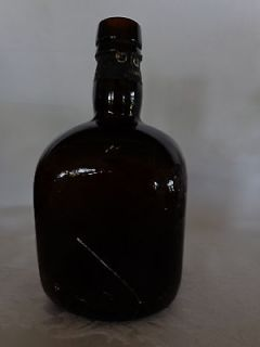 ANTIQUE VINTAGE OLD PARR AMBER SCOTCH WHISKY BROWN GLASS BOTTLE