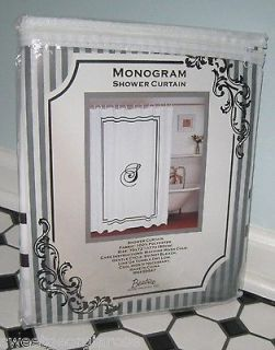 MONOGRAM HOTEL STYLE Fabric Shower Curtain S Black and White
