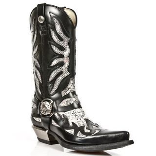 NEWROCK Mens New Rock 7991 West Cowboy Boots Black White Snake Skin