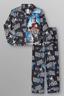 WWE John CENA Button Down Fleece Pajamas size 6/7 NeW Blue Shirt Pants