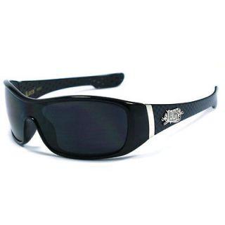 Locs Mens Cholo Biker Sunglasses   Shiny Black (Checkers) LC68