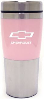 CHEVROLET PINK COFFEE TUMBLER STAINLESS STEEL TRAVEL MUG NEW