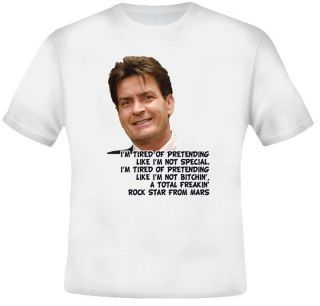 Charlie Sheen Crazy Quote Rock Star Mars T shirt