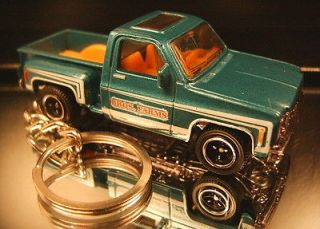 Dark Teal Green 1975 Chevy Stepside Pickup Truck Keychain Key Ring Fob