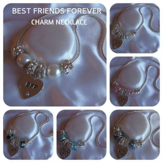LADIES WOMENS CHARM NECKLACE BEST FRIENDS FOREVER 7 COLOURS GIFT BOX
