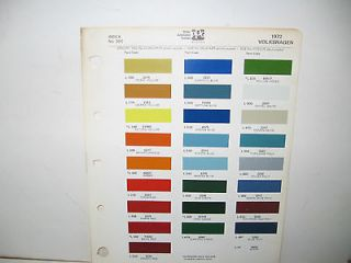 1972 VOLKSWAGEN PAINT CHIPS REFINISH COLOR CHART PPG DITZLER * KARMAN