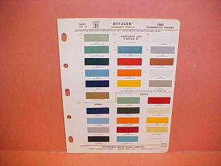 1962 CHEVROLET CORVAIR DODGE TRUCK PAINT CHIPS COLOR CHART BROCHURE 62