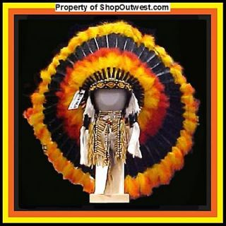 Native American Navajo 36 War Bonnet Headdress FIREBALL Yellow, Red