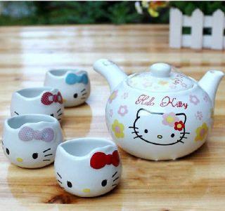 5pcs Japanese Style Hello Kitty Ceramic Tea Set Procelain Coffee Tea