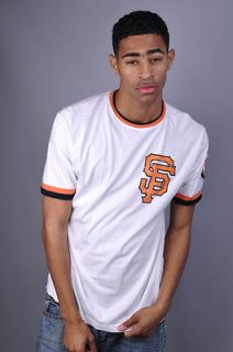 NEW MENS RED JACKET SAN FRANCISCO GIANTS BASEBALL WHITE TEE T SHIRT