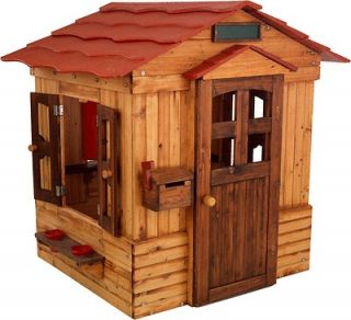 Outdoor Playhouse Weather Resistant Wood Windows Mailbox Pretend Play