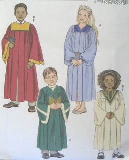Boys Girls Choir Robe Collar Sewing Pattern 4542 Yoke