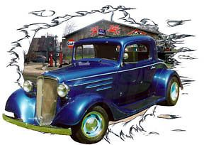 1934 Blue Chevy Coupe 3 Window Custom Hot Rod Garage T Shirt 34