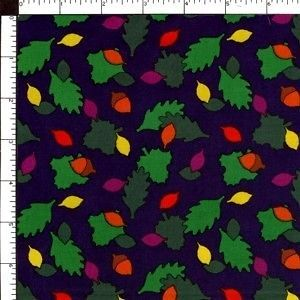 Oak Tree Autumn Leaves & Acorns Navy Blue Cotton Sewing Quilting