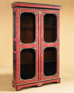 Maitland Smith Antique Red Gold Gilded Display China Cabinet 5143 246