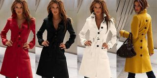 NEW Womens Long Coat Wool Cashmere Blend Trench Coat Outwear Long