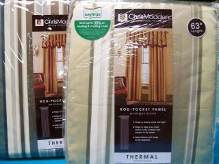 Chris Madden Mystique Thermal STRIPE Panel Curtain 54W
