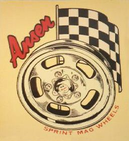 Vintage ANSEN SPRINT MAG WHEELS Vinyl Decal Sticker