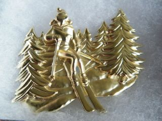 Christmas Brooch Pin Gold Tone Matte Shiney Skier 2 1/2 x 2 Inch