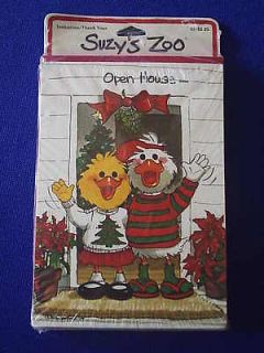 Suzys Zoo Christmas Cards Open House Holiday set 10 sealed Hello wave