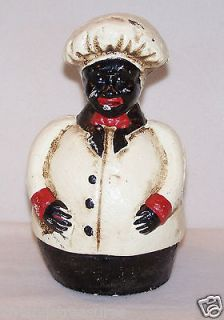 Chubby Southern Chef Baker Cook Black Americana Still Bank Cast Iron
