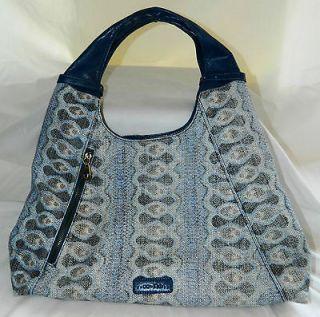 CHRISTOPHER KON CO LAB NWOT Large Studded Blue Hobo Bag w/Animal Print
