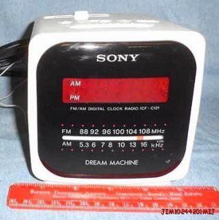 VINTAGE SONY DREAM MACHINE DIGITAL CLOCK RADIO ICF C121 CUBE MID