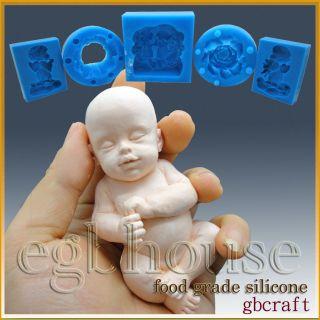 Silicone Soap/sugar/fon dant/chocolat Mold Sleeping Baby