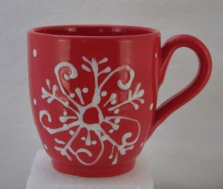 STARBUCKS RED Barista COFFEE CUP 2003 Ceramiche Tuscany Italy White