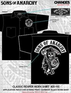 SONS OF ANARCHY CLASSIC REAPER ROCKER SHIRT BIKER BUTTON WORK SHIRT XL