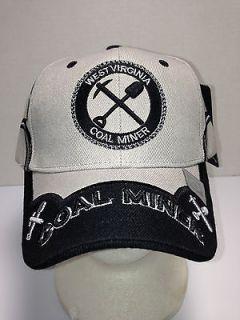 Ball Cap Coal Miner West Virginia Pick and Shovel GRAY/BL ACK Heavy