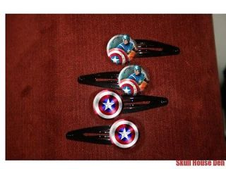 Captain America and Shield Avengers Chris Evans set of 4 barrettes