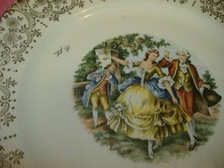 COLONIAL COURTING COUPLE DANCING 10 PLATE Royal Queen 22 kt Gold