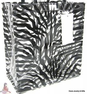 Clear Black Zebra Lunch Tote Hand Bag Purse School Work Security