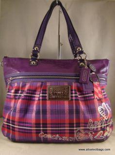 Coach Poppy Tartan Glam Extra Large Multi Color Purple Tote Handbag