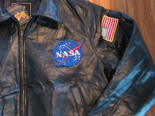 Alpha Industries NASA Bombardier Leather Flight Jacket with Patches